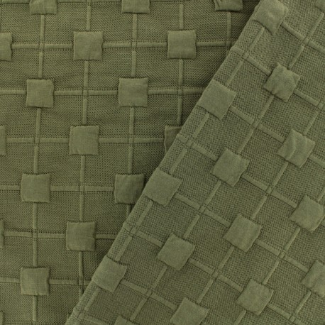Relief cube jersey fabric - khaki x 10cm