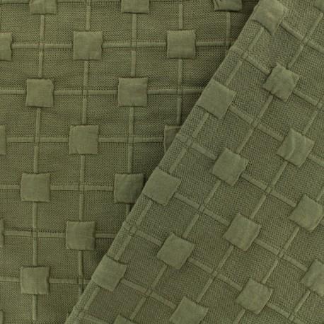 Tissu Jersey maille Cube Relief - kaki x 10cm