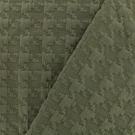 Houndstooth jersey fabric - khaki x 10cm
