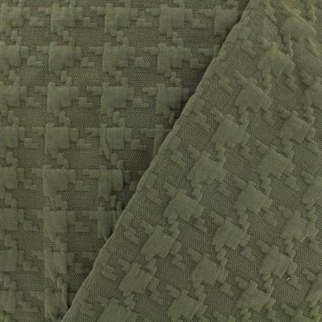 Tissu Jersey maille Pied-de-poule Relief - kaki x 10cm