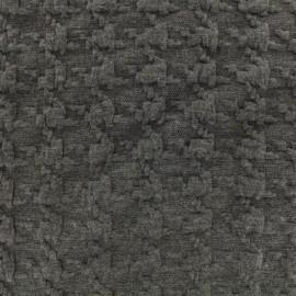 Tissu Jersey maille Pied-de-poule Relief - gris x 10cm