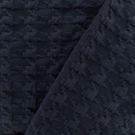 Tissu Jersey maille Pied-de-poule Relief - bleu marine x 10cm