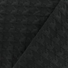 Tissu Jersey maille Pied-de-poule Relief -noir x 10cm
