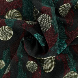 Tissu crêpe pois abstrait - multi x 10cm