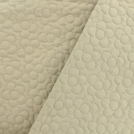 Reversible quilted fabric double-sided flowers - beige x 10cm