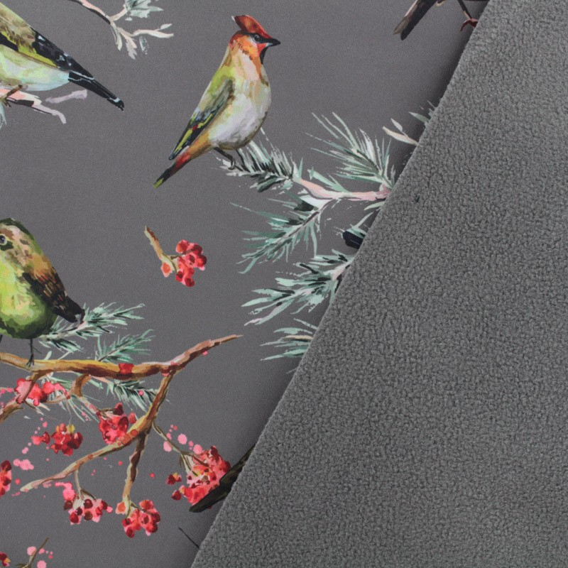 Birds Nano Tex Water Repellent Softshell Fabric Taupe X 10cm