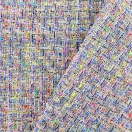 Tissu Tweed Carnaval - multi parme x 10cm