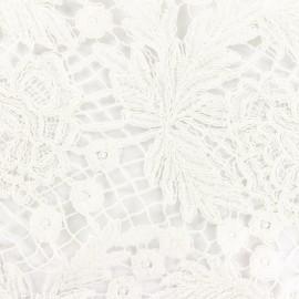 Tissu Guipure dentelle feuillage - écru x 10cm