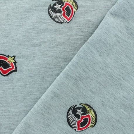 Light embroidered jogging Jersey fabric - grey x 10cm