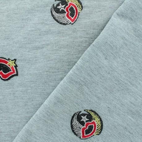 Tissu jogging jersey léger brodé Ohlala - gris x 10cm