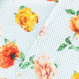Tissu Gabardine satin fleuri à pois - blanc x 10cm