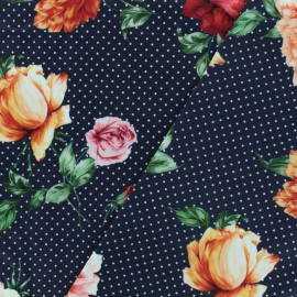 Flowers and dots satiny gabardine fabric - midnight blue x 10cm