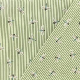 ♥ Coupon 150 cm X 150 cm ♥ Tissu Gabardine satin Libellule rayé - vert