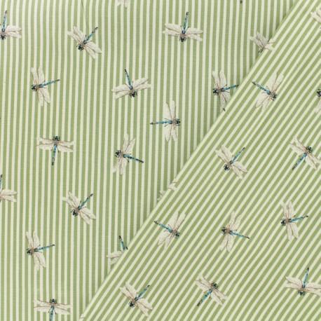Tissu Gabardine satin Libellule rayé - vert x 10cm