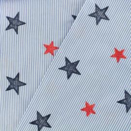 ♥ Coupon 10 cm X 150 cm ♥ Tissu voile de coton brodé Etoiles - bleu ciel