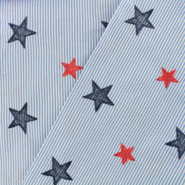 Embroidered Cotton veil fabric Stars - sky blue x 10cm