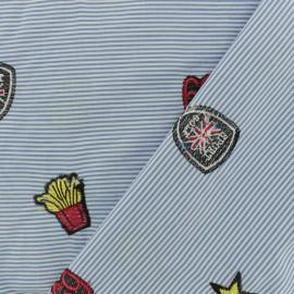 Tissu voile de coton brodé Boy Sport - bleu ciel x 10cm