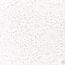 Tissu Guipure dentelle marguerite - écru x 10cm