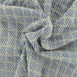 Embroidered viscose fabric diamond - sky blue x 10cm