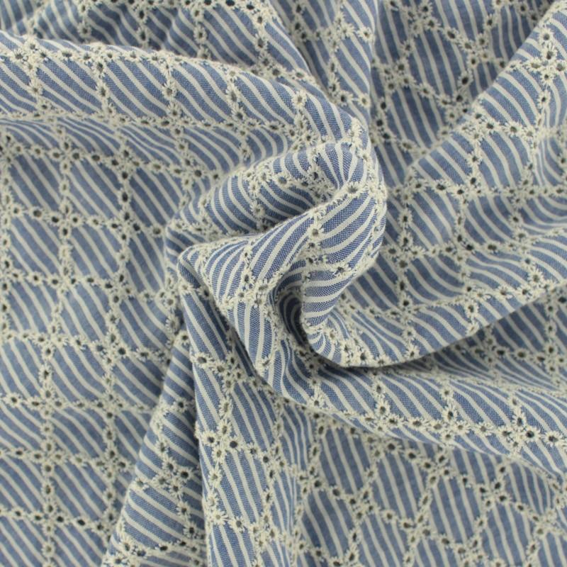 Embroidered viscose fabric diamond sky blue cm