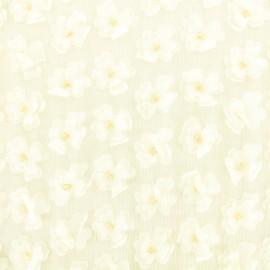 Organza fabric embroidered Flowers 3D - ecru x 10 cm
