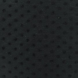 Oeko-Tex flocked velvet dots on jersey fabric - noir x 10cm