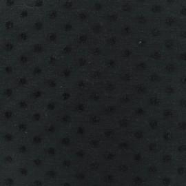 Tissu jersey pois velours - noir x 10cm