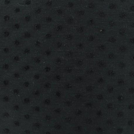 Oeko-Tex flocked velvet dots on jersey fabric - noir x 10cm