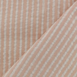Lurex seersucker cotton fabric stripe - nude x 10cm
