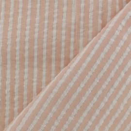 Tissu seersucker lurex coton rayure - rose poudre x 10cm