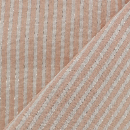 Lurex seersuker cotton fabric stripe - nude x 10cm
