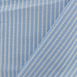 Lurex seersucker cotton fabric stripe - sky blue x 10cm