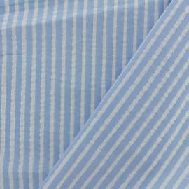 Tissu seersucker lurex coton rayure - bleu ciel x 10cm