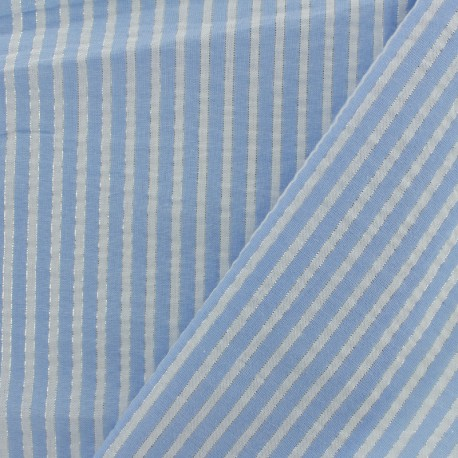 Lurex seersuker cotton fabric stripe - sky blue x 10cm