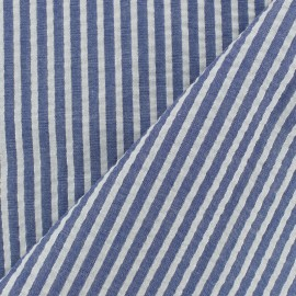 Lurex seersuker cotton fabric stripe - marine x 10cm