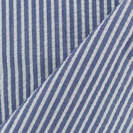 Tissu seersucker lurex coton rayure - marine x 10cm
