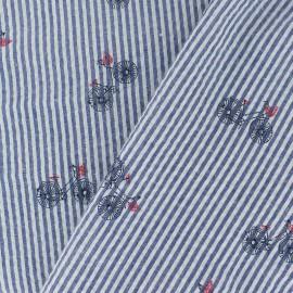 Seersuker cotton fabric little bike - blue x 10cm