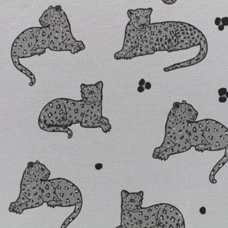 Oeko-Tex panther jersey fabric - grey x 10cm