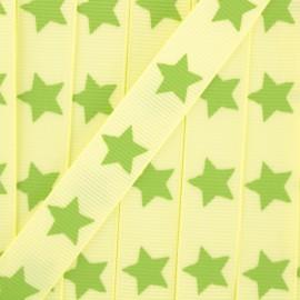 Ruban Froufrou gros grain étoiles pistache x 1m