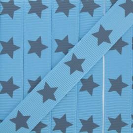 Froufrou grosgrain ribbon cerulean blue - x 1m