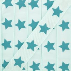Ruban Froufrou gros grain étoiles aquamarine x 1m