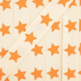 Ruban Froufrou gros grain étoiles orange pastel x 1m