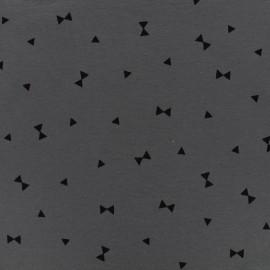 Tissu jersey Oeko-Tex noeuds papillons - gris x 10cm