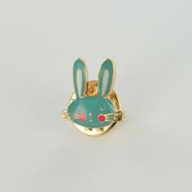 Pin's tête de lièvre- bleu