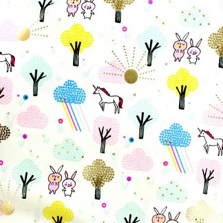 Rico Design cotton fabric wonderland -  gold metalized