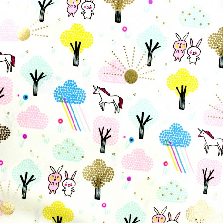 Rico Design cotton fabric wonderland -  gold metalized x 10cm