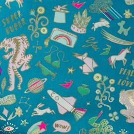 Tissu coton Rico Design Funtastic - turquoise métallisé x 10cm