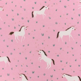 Oeko-Tex Magic unicorn jersey fabric  - pink and gold foil x 10cm