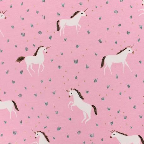Oeko-Tex Magic unicorn jersey fabric  - pink and gold foil x 10cm