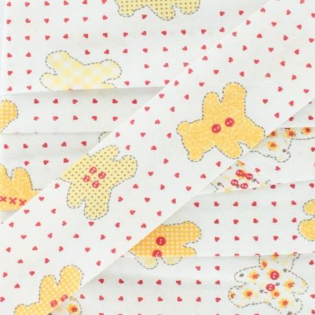 Biais tout textile nounours - jaune/blanc x 1m